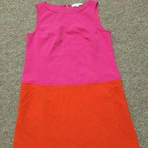 Loft orange pink dress size 10